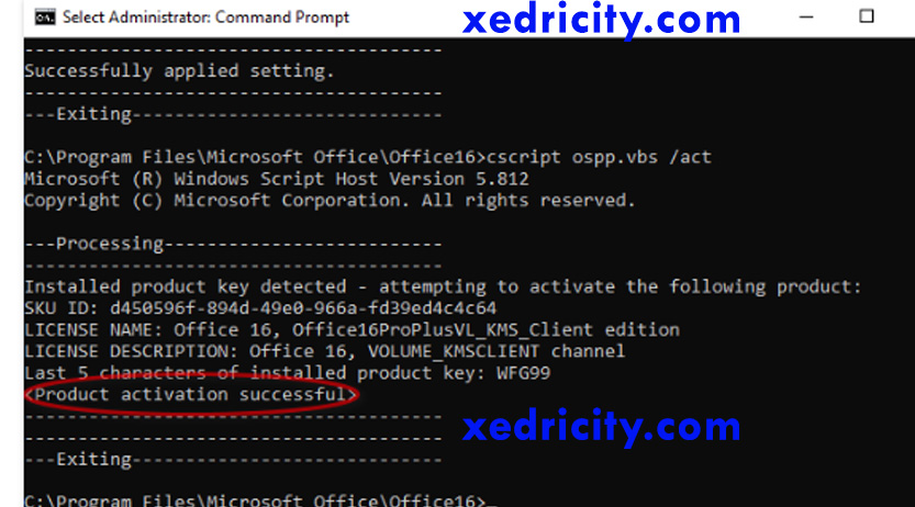 method to activate ms office using cmd