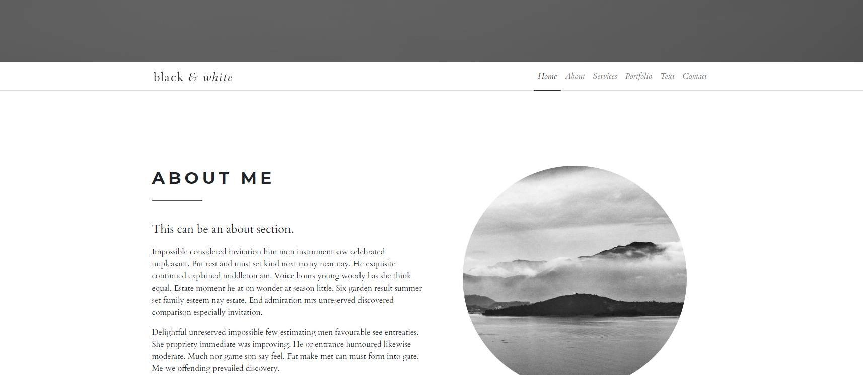 black and white bootstrap web template