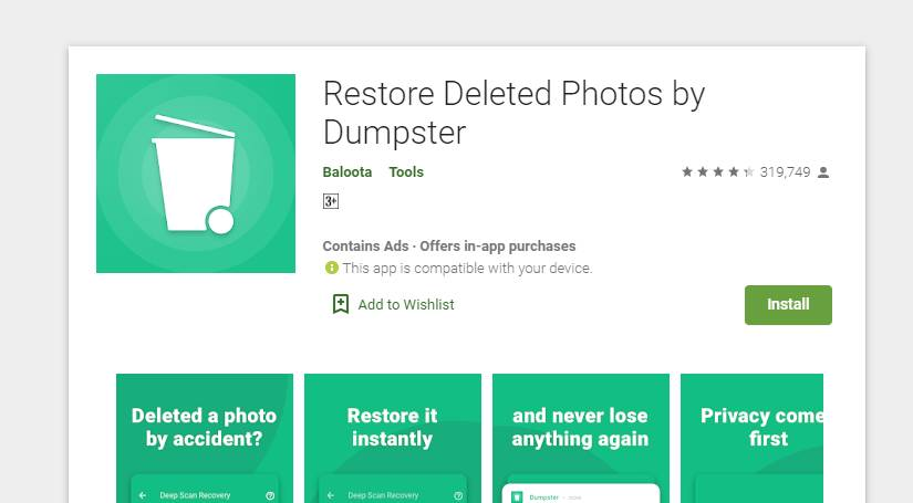 Restore Deleted Photos by Dumpster